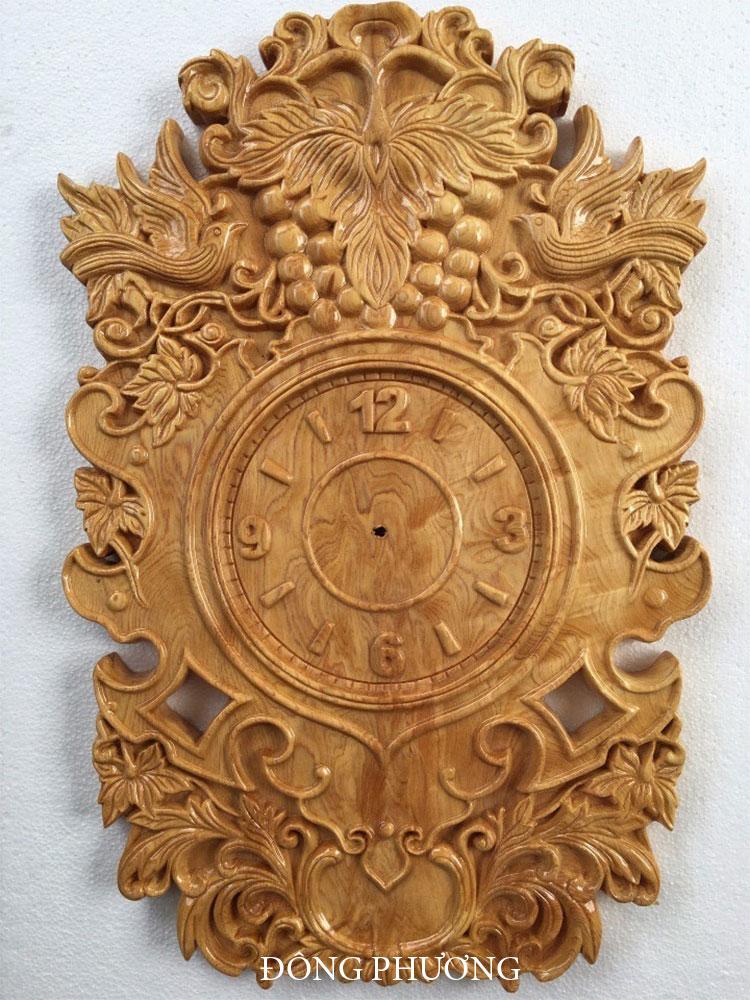 Đồng hồ khắc gỗ 04