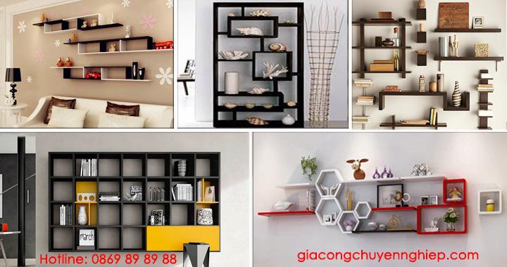 Nhận thiết kế, thi công kệ trang trí, kệ sách, kệ gỗ treo tường giá rẻ