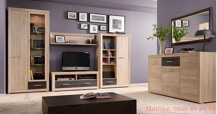 Mẫu kệ tivi phòng khách nhỏ, kệ tivi bằng gỗ đẹp, giá rẻ tại Hà Nội 11