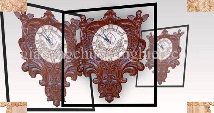 Đồng hồ gỗ treo tường đẹp hiện đại - Gia công chuyên nghiệp-09