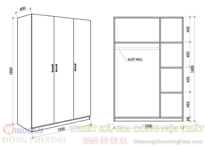 Kích thước mẫu tủ quần áo thông dụng - Gỗ công nghiệp