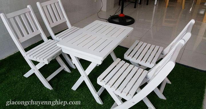 Bàn ghế gỗ cho quán cafe cóc - Giải pháp siêu tích kiệm không gian 02