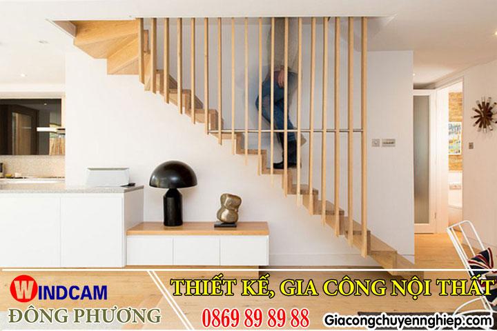 Mẫu lam gỗ trang trí giúp phòng khách, cầu thang thêm sang trọng, bắt mắt 5
