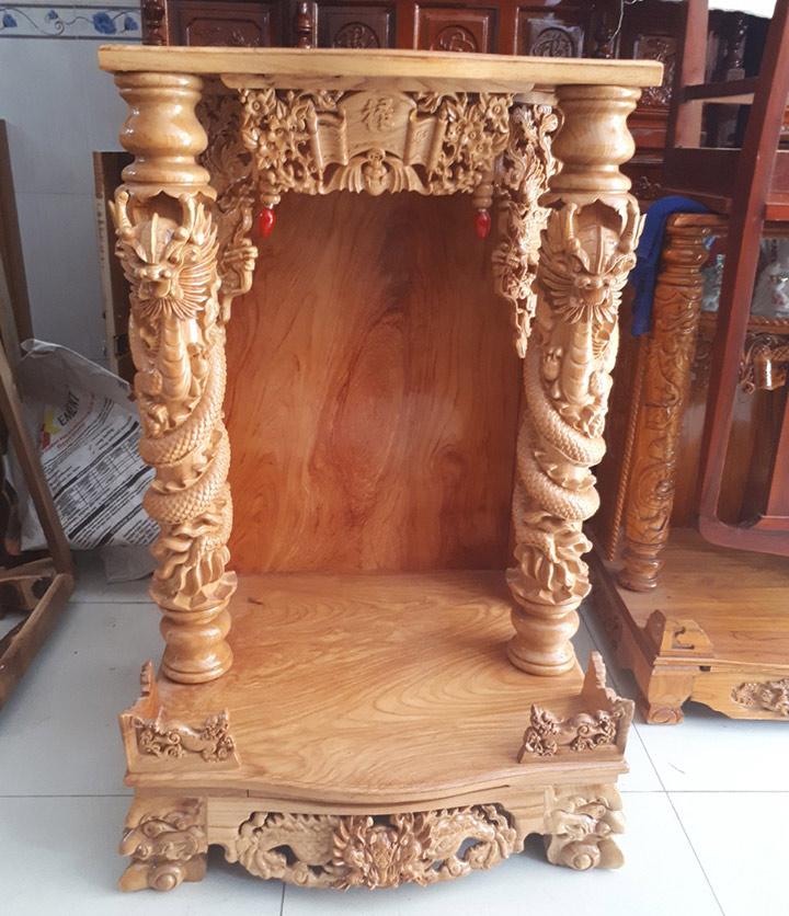 Gia công đục khắc gỗ 4D: Đục trụ rồng bàn thờ Thần Tài – Ông Địa đẹp tinh xảo-10