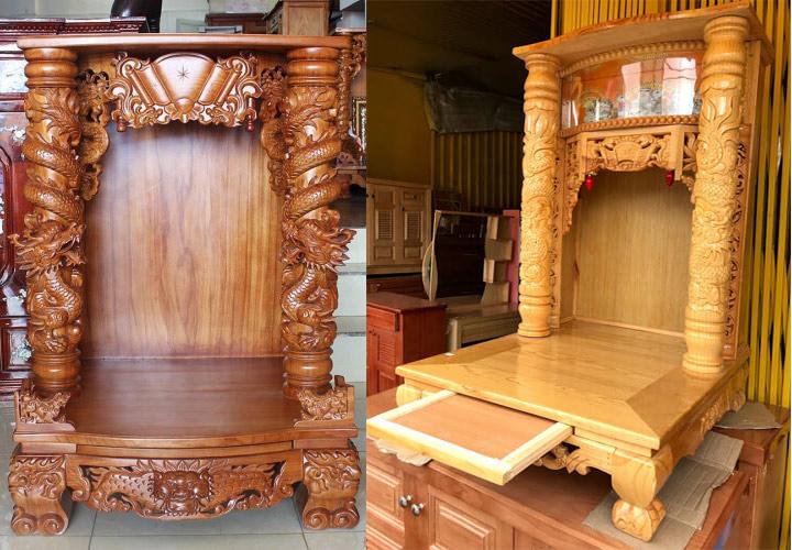 Gia công đục khắc gỗ 4D: Đục trụ rồng bàn thờ Thần Tài – Ông Địa đẹp tinh xảo-12