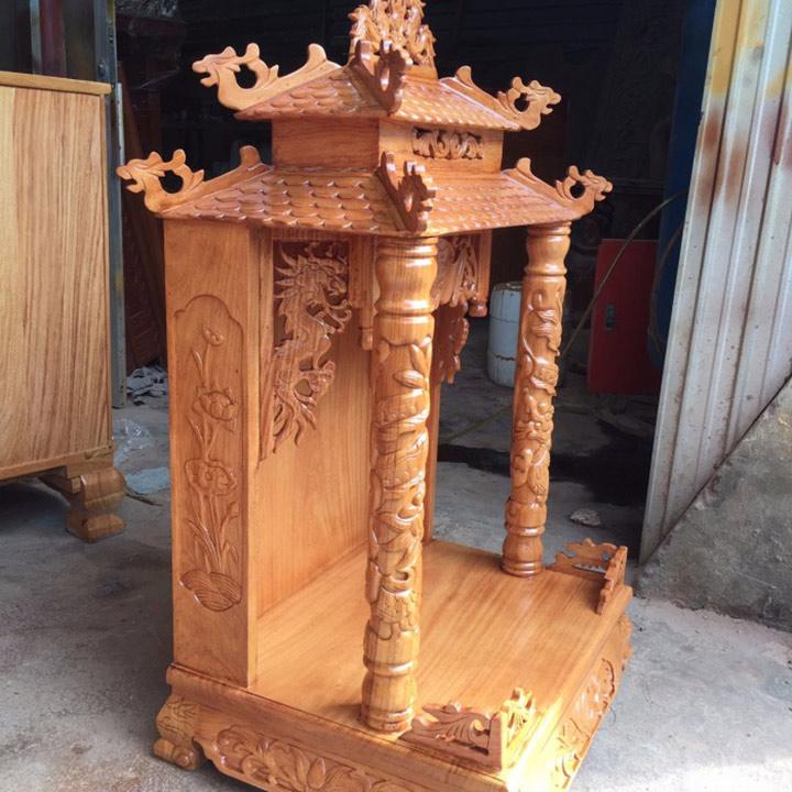 Gia công đục khắc gỗ 4D: Đục trụ rồng bàn thờ Thần Tài – Ông Địa đẹp tinh xảo-7