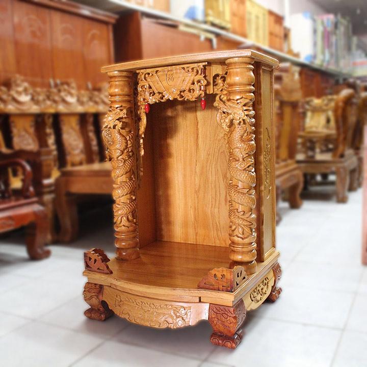 Gia công đục khắc gỗ 4D: Đục trụ rồng bàn thờ Thần Tài – Ông Địa đẹp tinh xảo-8