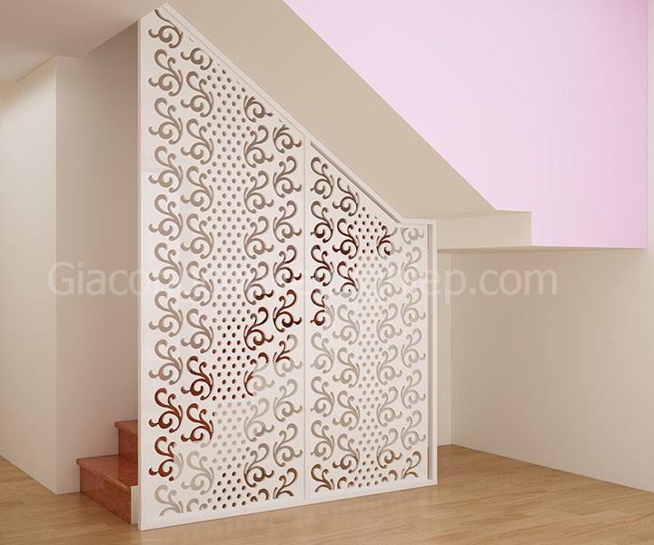 Thi công vách ngăn 02: vách ngăn phòng khách và cầu thang đẹp hiện đại.-05