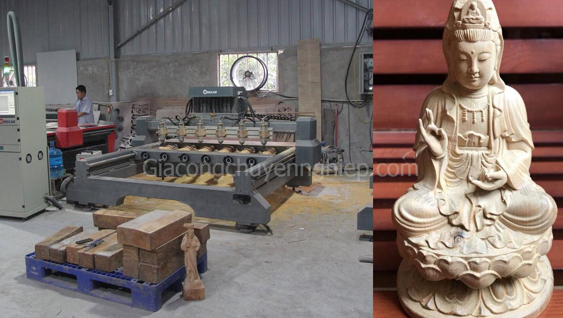 Dịch vụ đục khắc gỗ 4D: Tượng Phật Bà Quan Âm gỗ đục cực đẹp.-0