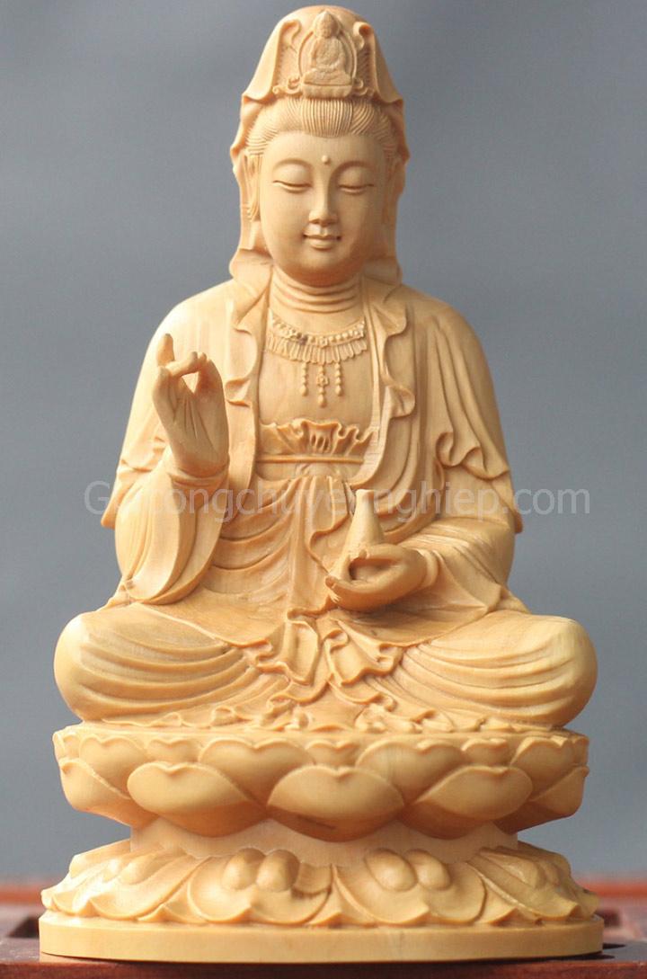 Dịch vụ đục khắc gỗ 4D: Tượng Phật Bà Quan Âm gỗ đục cực đẹp.-2
