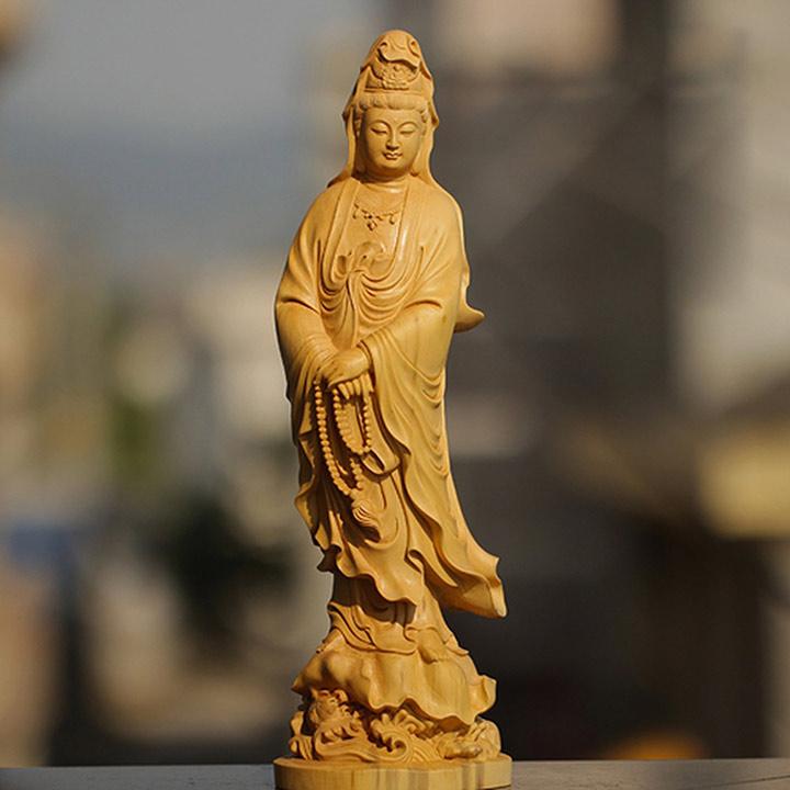 Dịch vụ đục khắc gỗ 4D: Tượng Phật Bà Quan Âm gỗ đục cực đẹp.-3