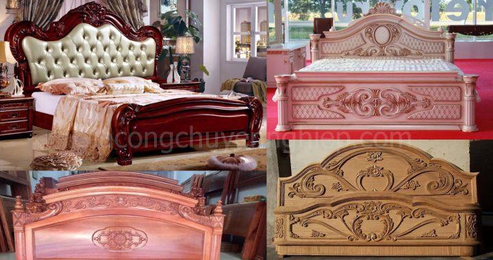 Mẫu giường gỗ chạm khắc, đầu giường đục máy cnc đẹp, sang trọng.-0