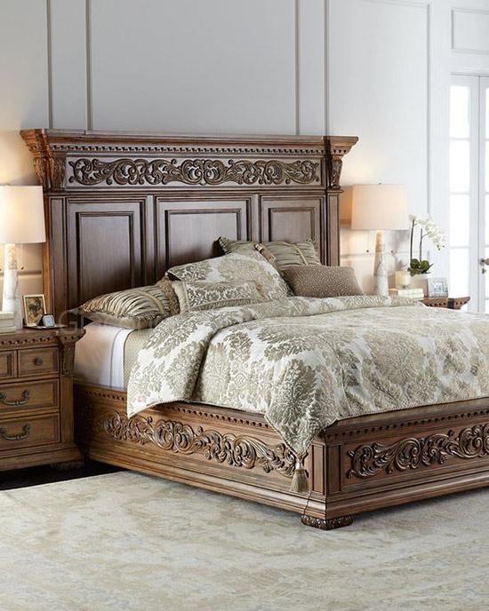 Mẫu giường gỗ chạm khắc, đầu giường đục máy cnc đẹp, sang trọng.-1